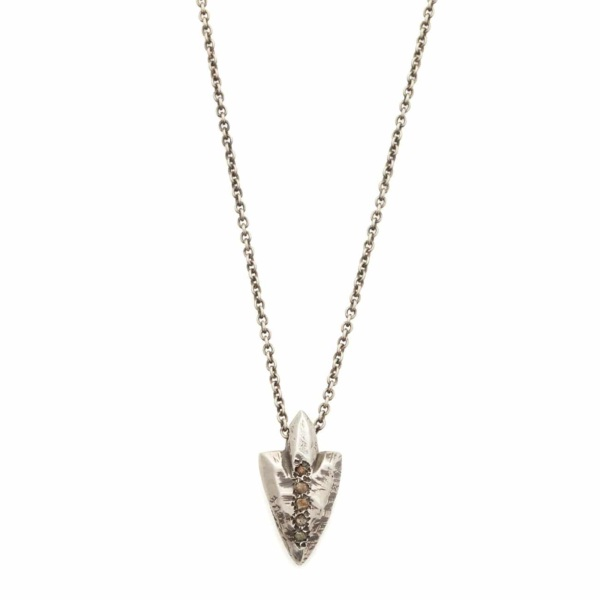 Blackened Sterling Silver Arrowhead Necklace With Rough Diamonds - Elisa Solomon