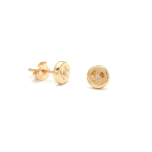 Yellow Gold Peace Disk Stud Earrings