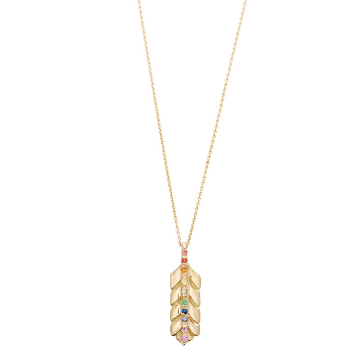Yellow Gold Rainbow Feather Necklace - Elisa Solomon