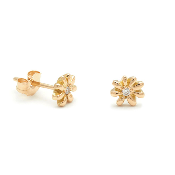 Yellow Gold Tiny Daisy Studs