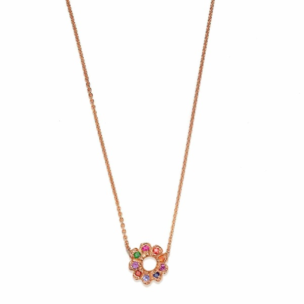 Pink Gold Multicolor Flower Child Necklace