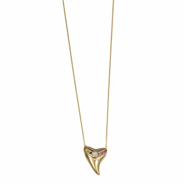 Yellow Gold Opal Rainbow Shark Tooth Necklace