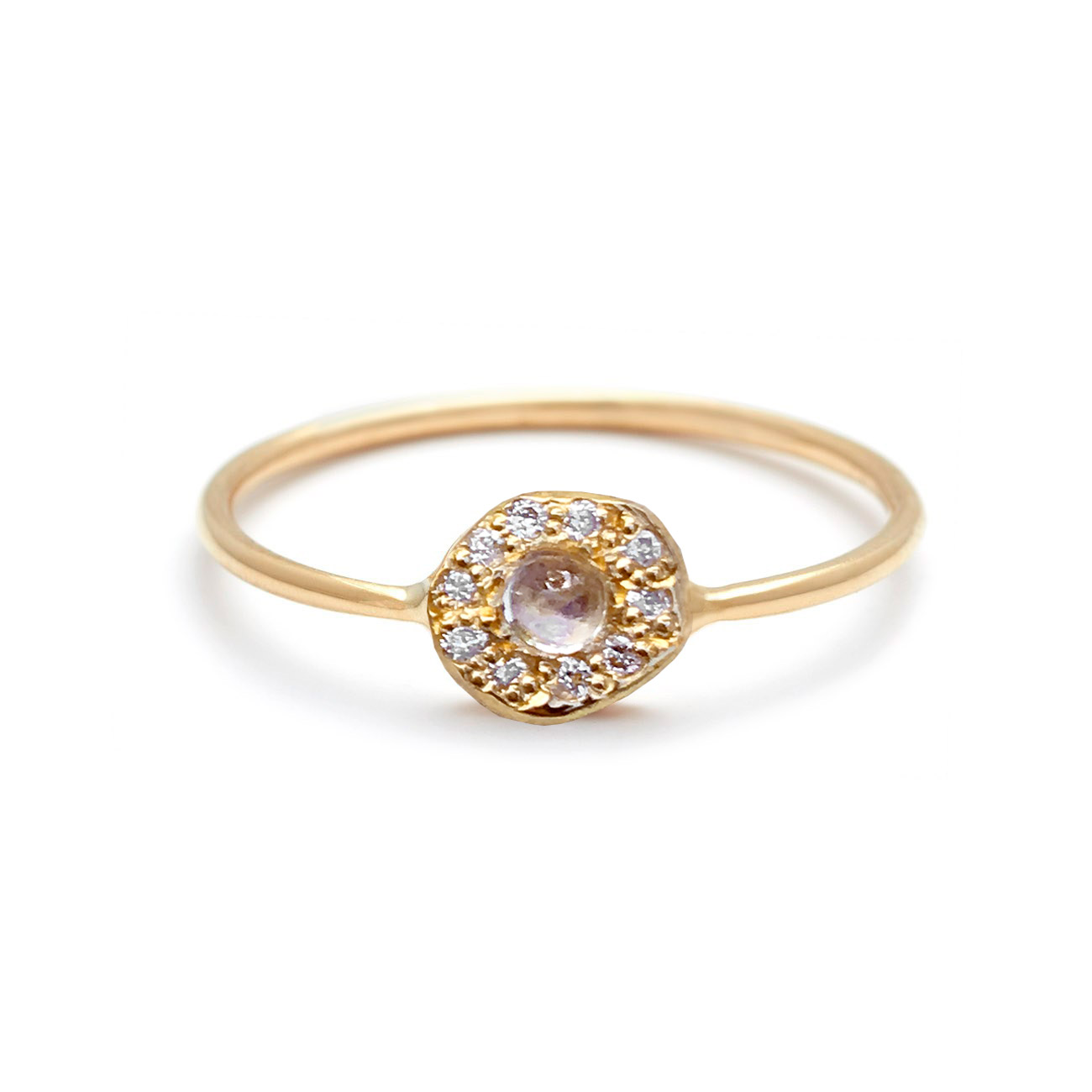 Yellow Gold Moonstone Diamond Disk Ring