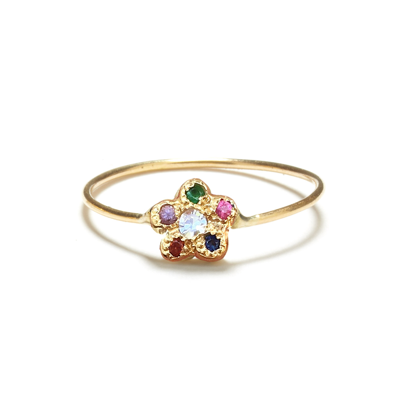 Yellow Gold Rainbow Newflower Ring
