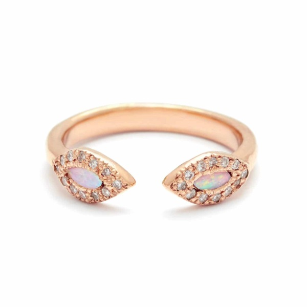 Pink Gold Opal Eye Cuff Ring