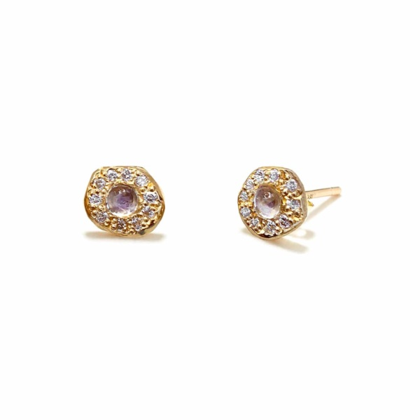 Yellow Gold Moonstone Disk Studs - Elisa Solomon Jewelry