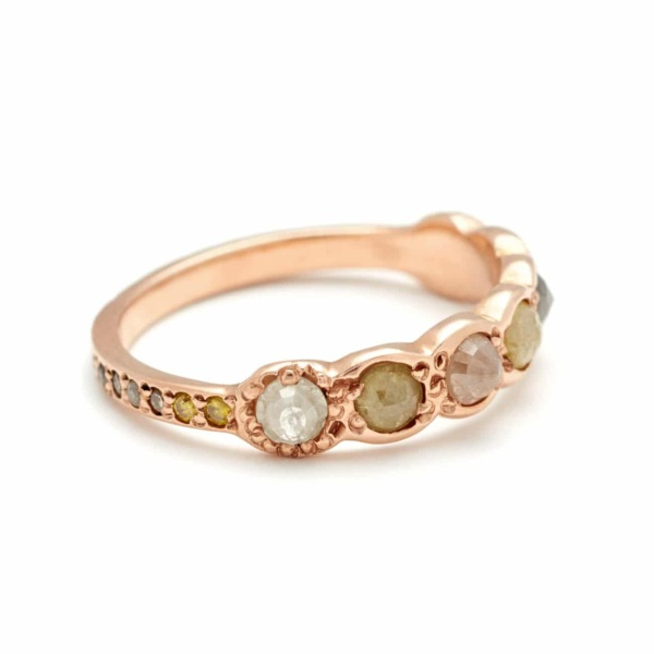 Pink Gold Lucky Seven Multicolor Rosecut Diamond Band - Side View
