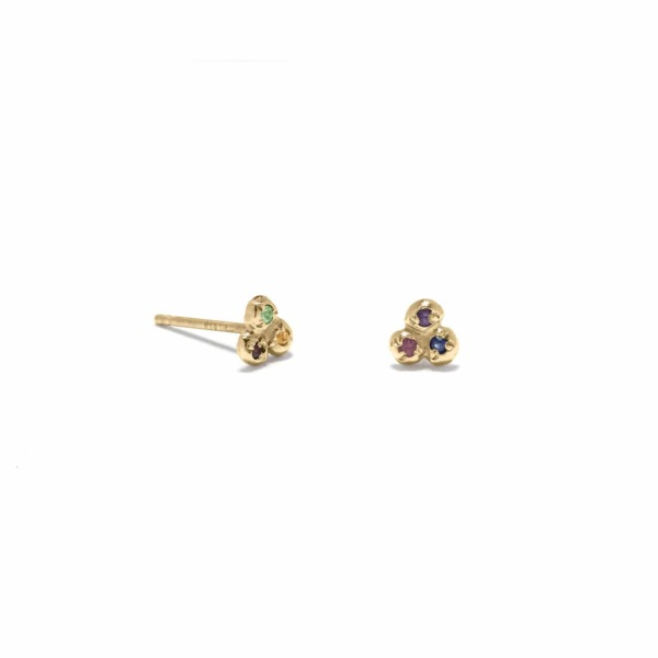Yellow Gold Tie Dye 3 Seedling Studs