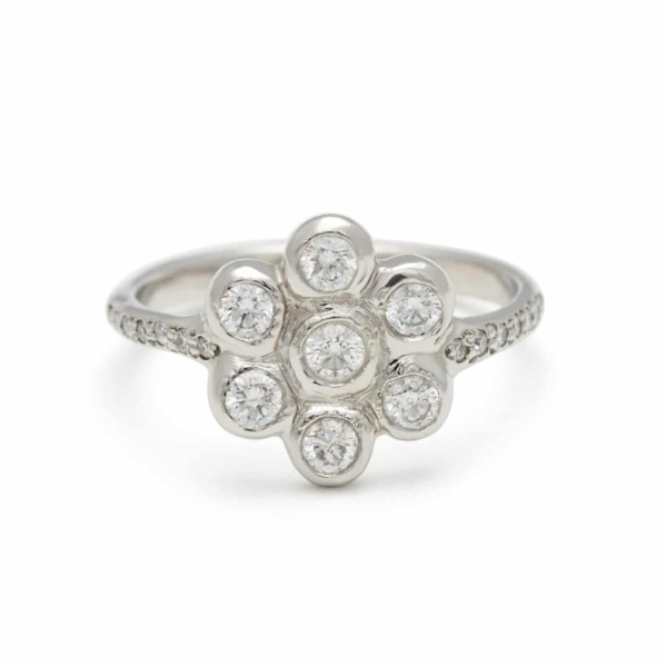 Platinum Six Petal Diamond Flower Ring