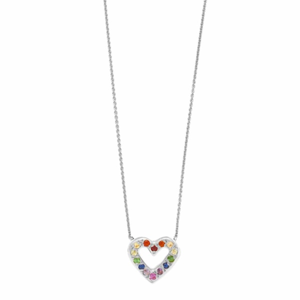 Sterling Silver Rainbow Open Heart Necklace