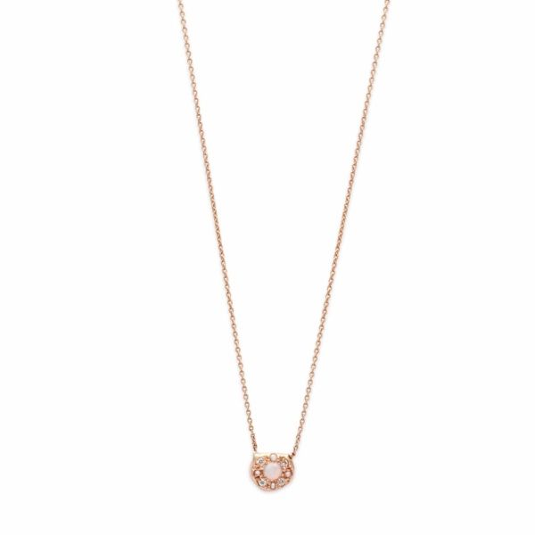 Pink Gold Opal Diamond Disk Necklace