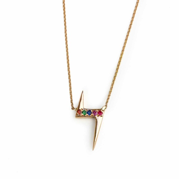 lightening bolt necklace yellow gold