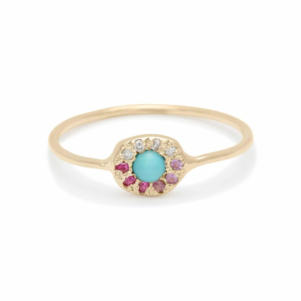 ombre turquoise disk ring