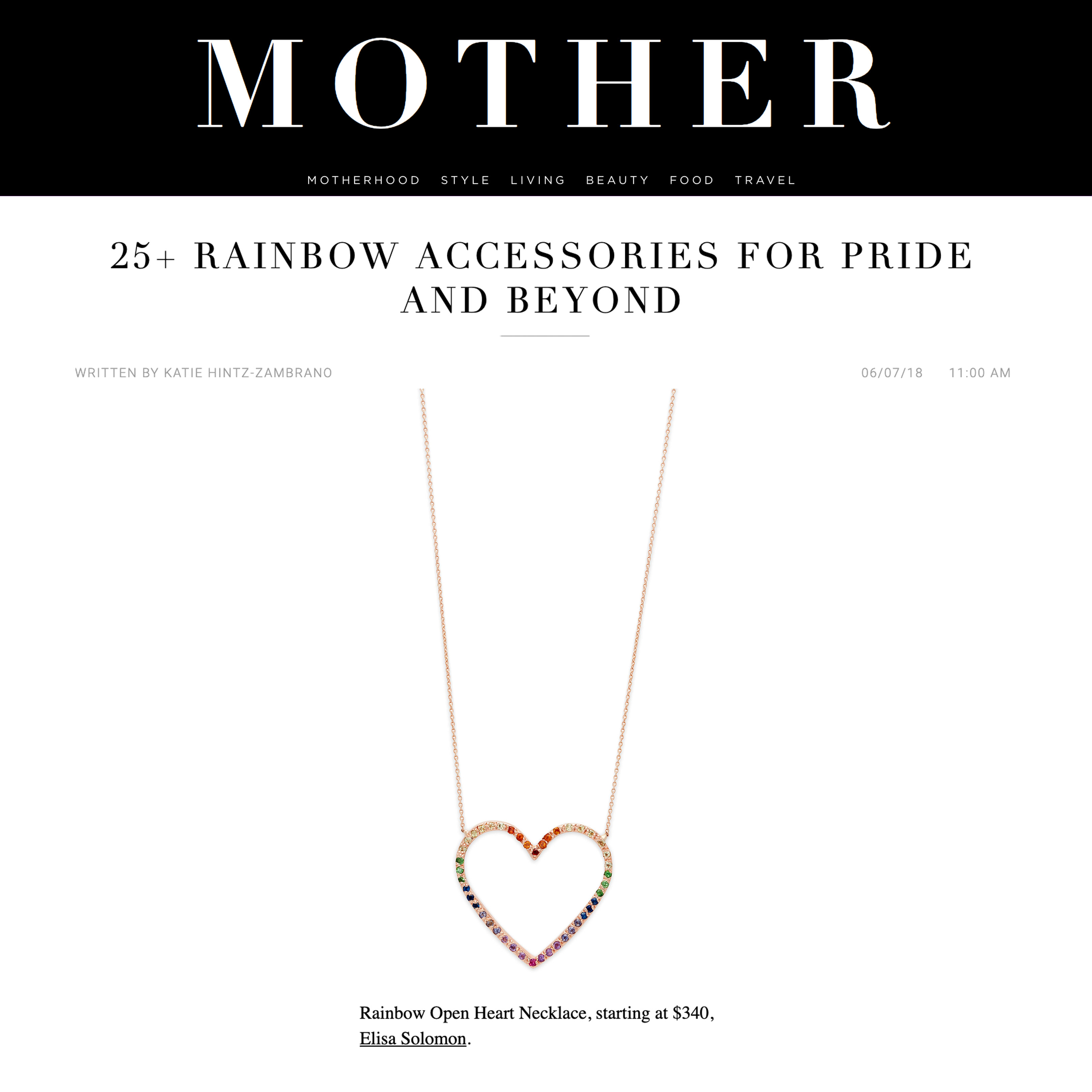 Rainbow Pride Handmade Heart Necklace in MOTHER Mag