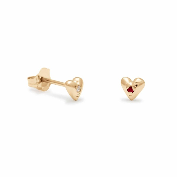 Teeny Tiny Heart Stud Earrings in Yellow Gold