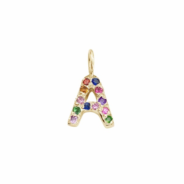 Letter Charm Pendant with Multicolor Gems in 14k Yellow Gold