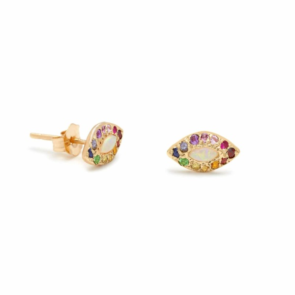 Opal Rainbow Eye Stud Earrings - Elisa Solomon Jewelry