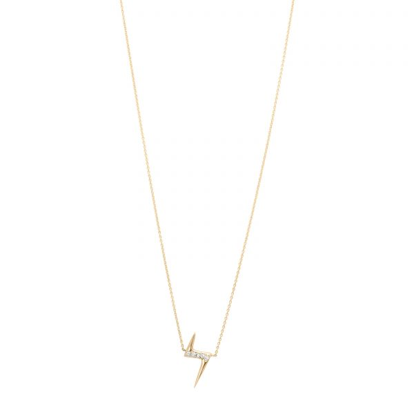 White Diamond Lightning Bolt Necklace in 14k Gold