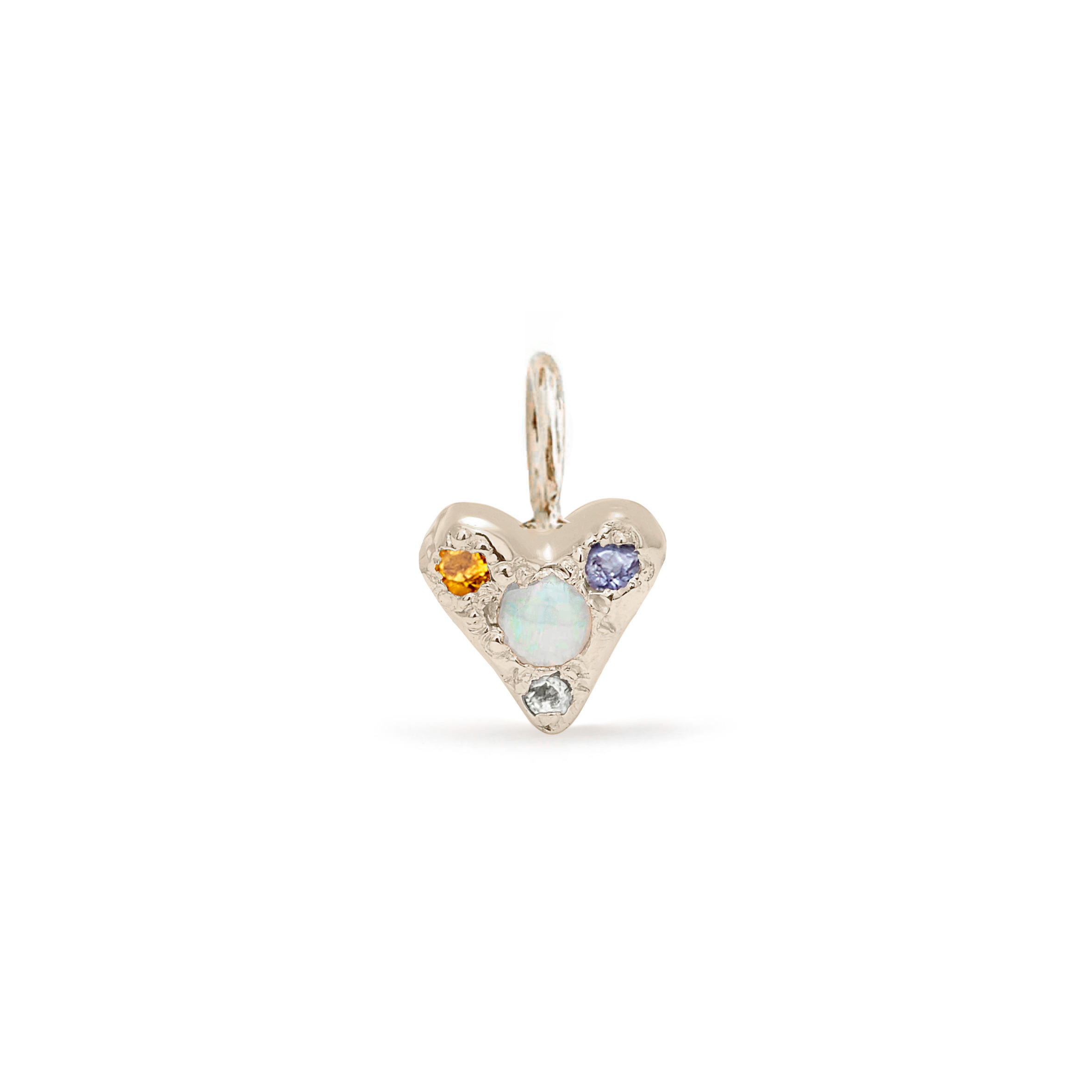 custom puff heart charm 14k white gold