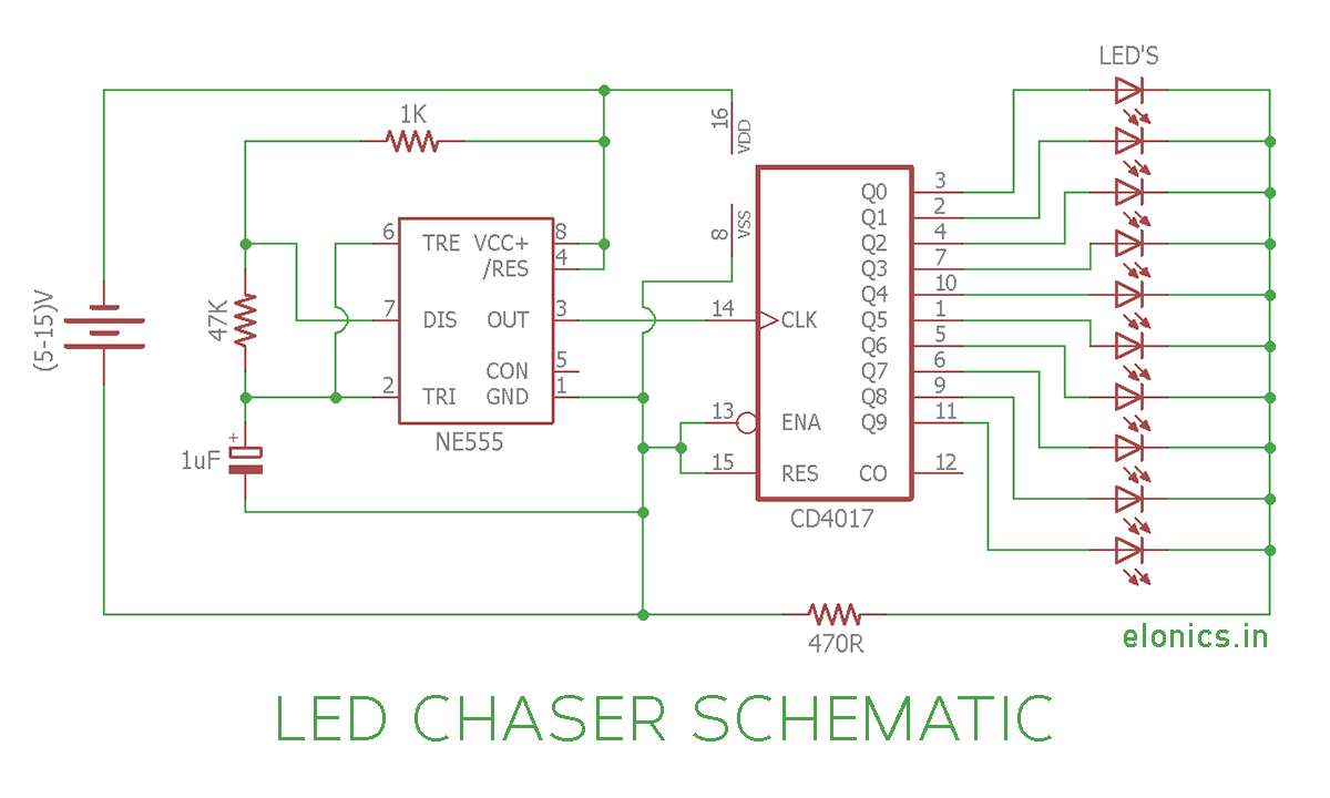 Sequential Flasher Circuit Led Pattern Using 555 Timer 4017 Counter And 2n2222a