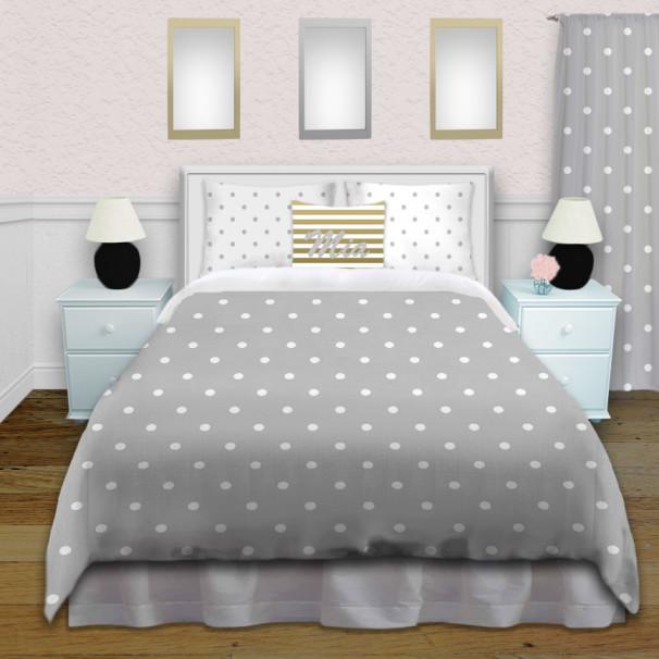 Tween Girls Gray Polka Dot Bedding Set Comes In King