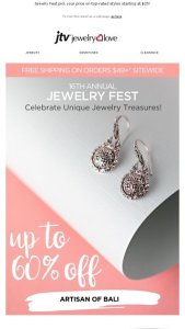 Celebrate Unique Jewelry Treasures with up to 60  off    Jewelry     Celebrate Unique Jewelry Treasures with up to 60  off    Jewelry Television  Email Archive