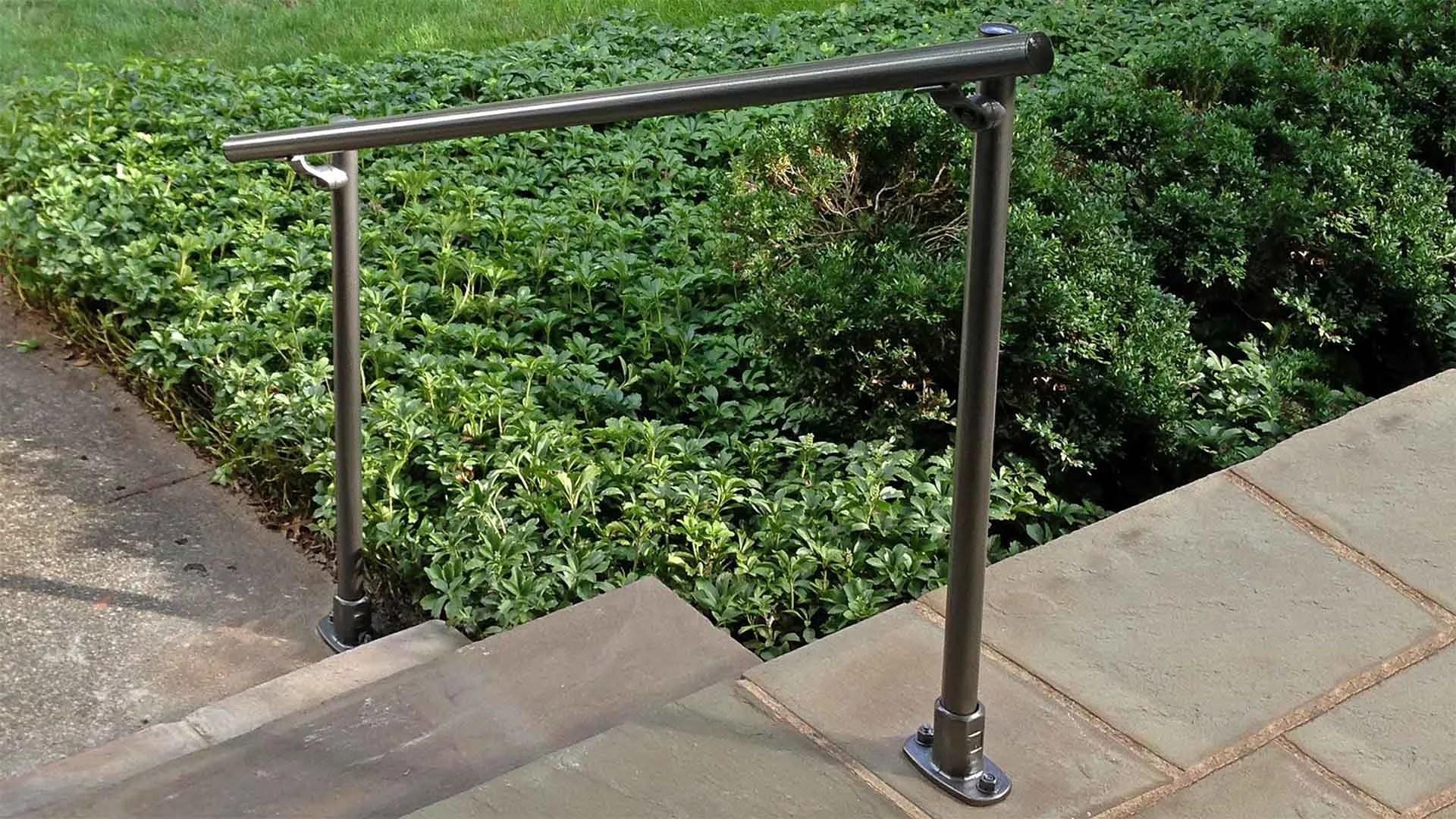Outdoor Stair Railing Kit Buy Step Handrail Online Simplified | Outdoor Metal Stair Railing | Ornamental | Banister | Custom | Urban Metal Deck | Garden