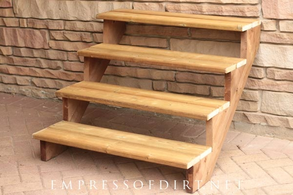 How To Build A Simple Staircase Plant Stand Empress Of Dirt | Ready Made Outdoor Steps | Inexpensive | Single | Grey Composite Decking | Wooden | Support