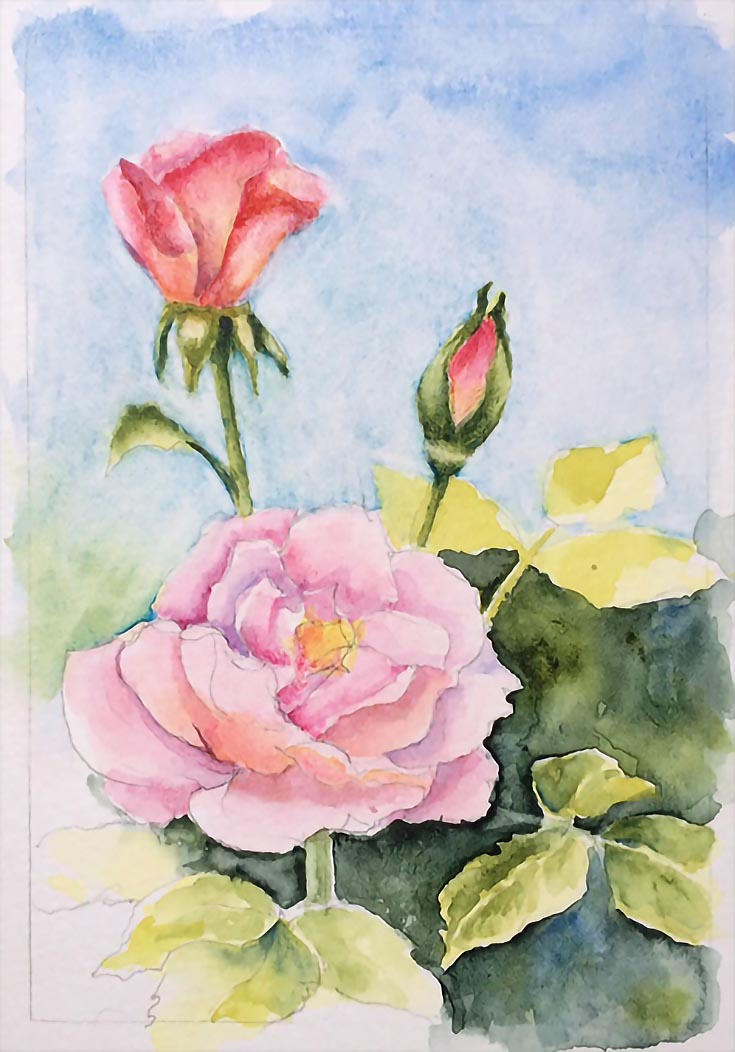 How To Paint Realistic Watercolor Roses - EmptyEasel.com