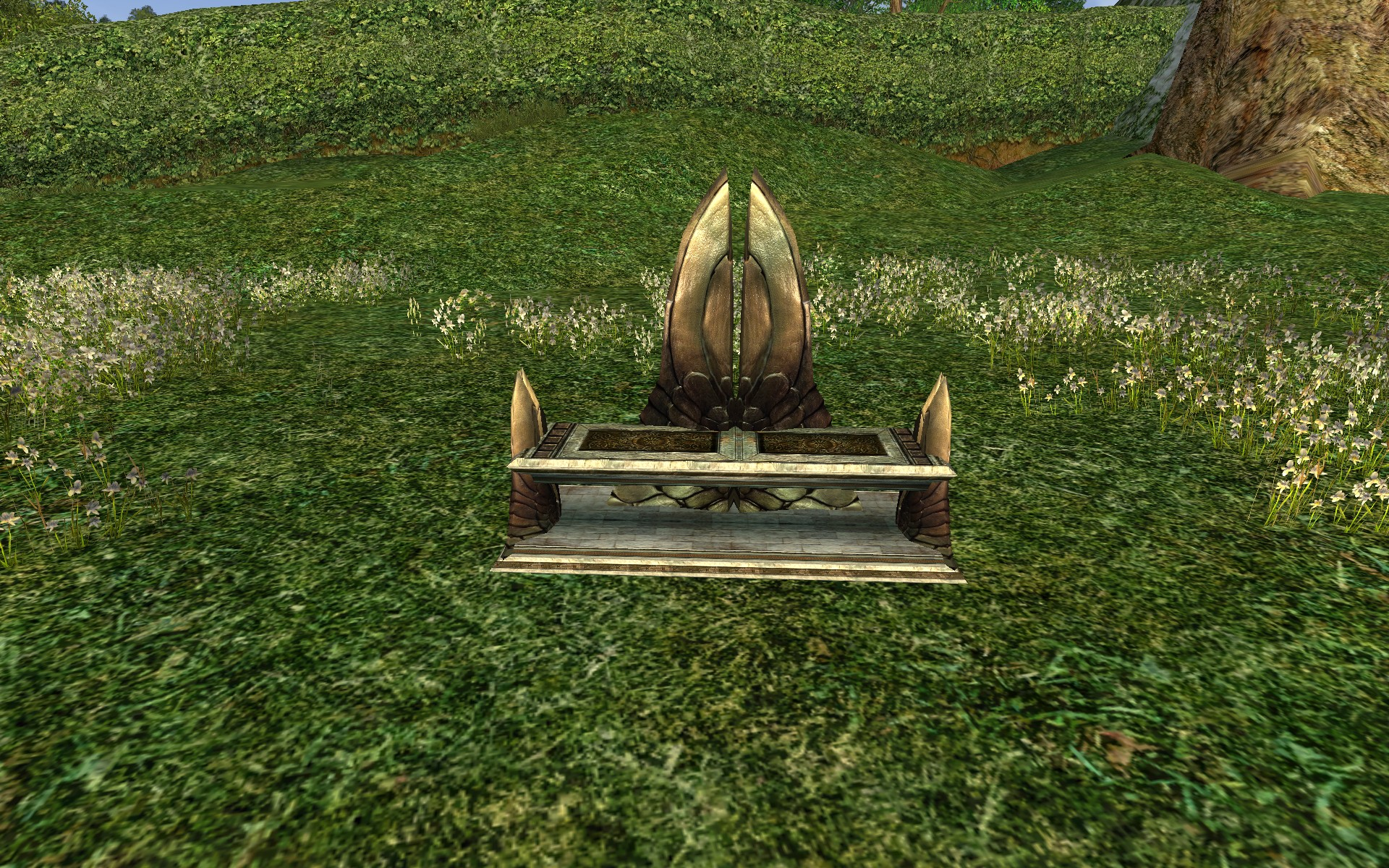 Double-backed Gondorian Bench