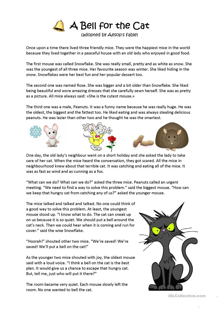 Free Worksheet Download: Aesop's Fable A Bell For The Cat Worksheet Free Esl Printable of Aesop S Fables Worksheets on azhce.us