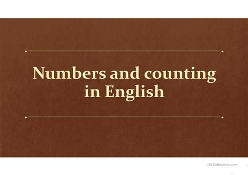 Numbers and Counting in English worksheet   Free ESL projectable     Numbers and Counting in English worksheet   Free ESL projectable worksheets  made by teachers