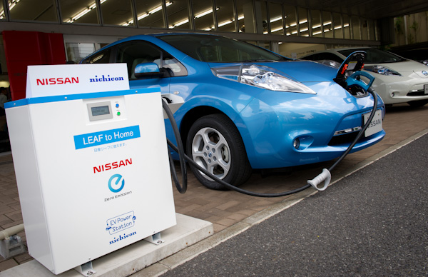 EV Power Supply system, developed by Nichicon on the left connected to Nissan LEAF.