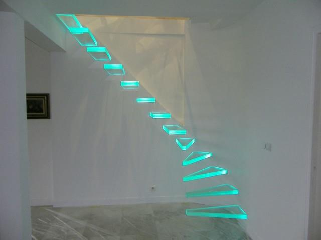 Glass Stairs Combined With Led Lights For Spectacular