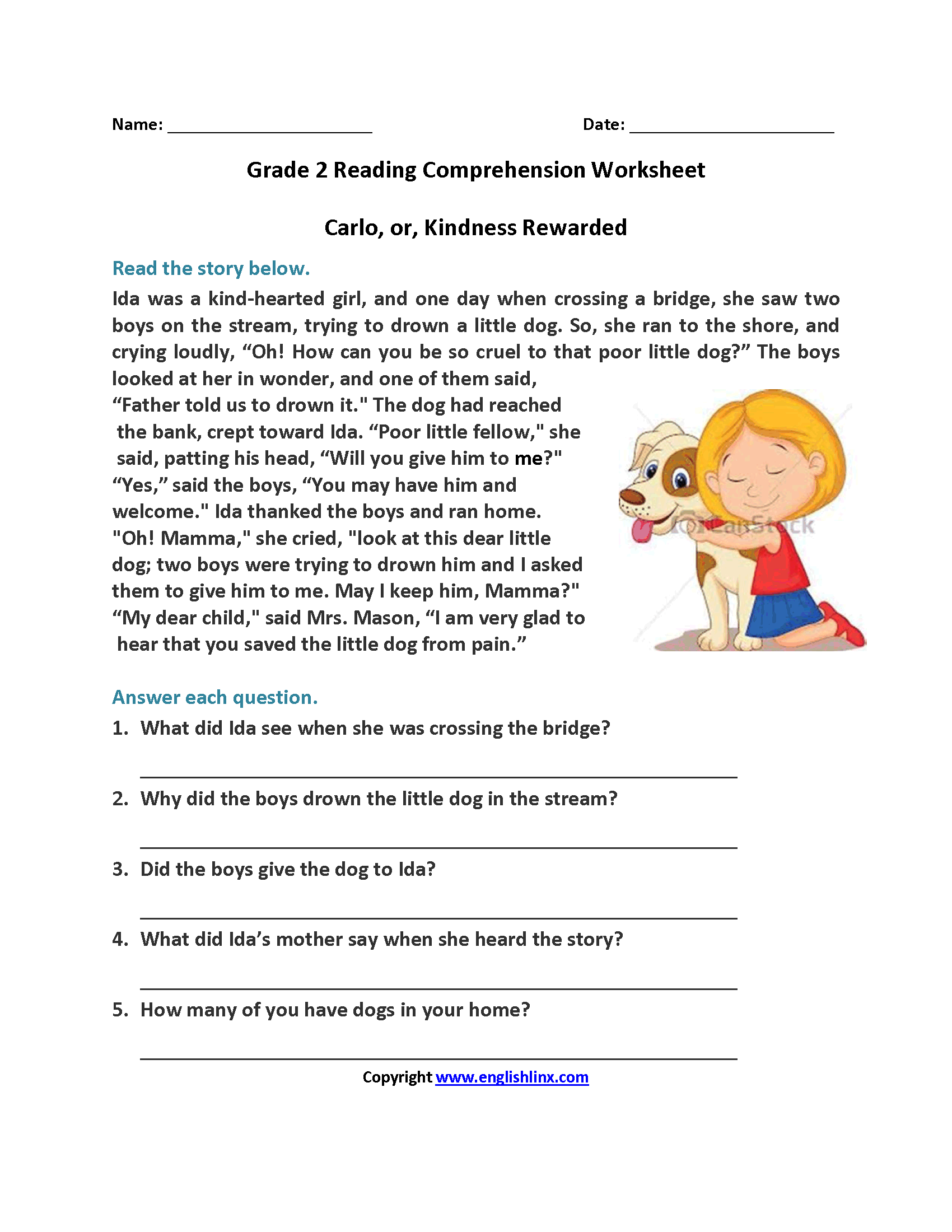 5Th Grade Reading Comprehension Worksheets Multiple Choice ...