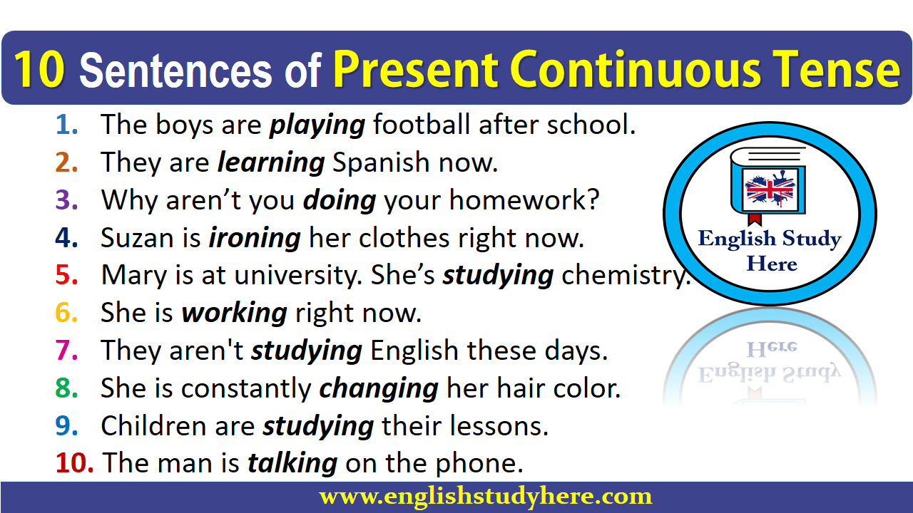 Tense Continuous Perfect Present Sentences