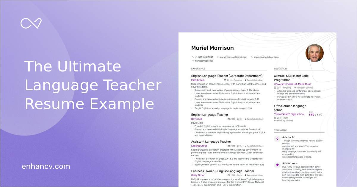 Top Language Teacher Resume Examples Amp Samples For 2020