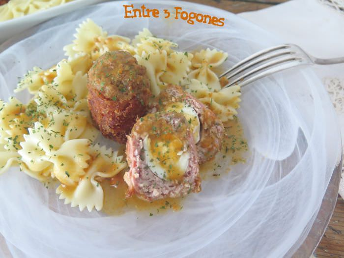 Receta Pasta Farfalle con Scotch Eggs