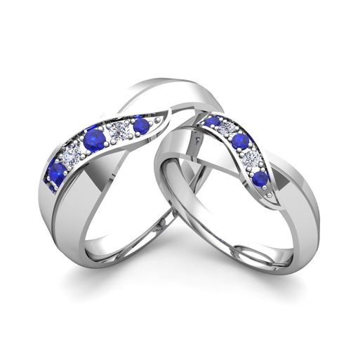 His And Her Matching Wedding Bands Platinum Infinity Sapphire Ring