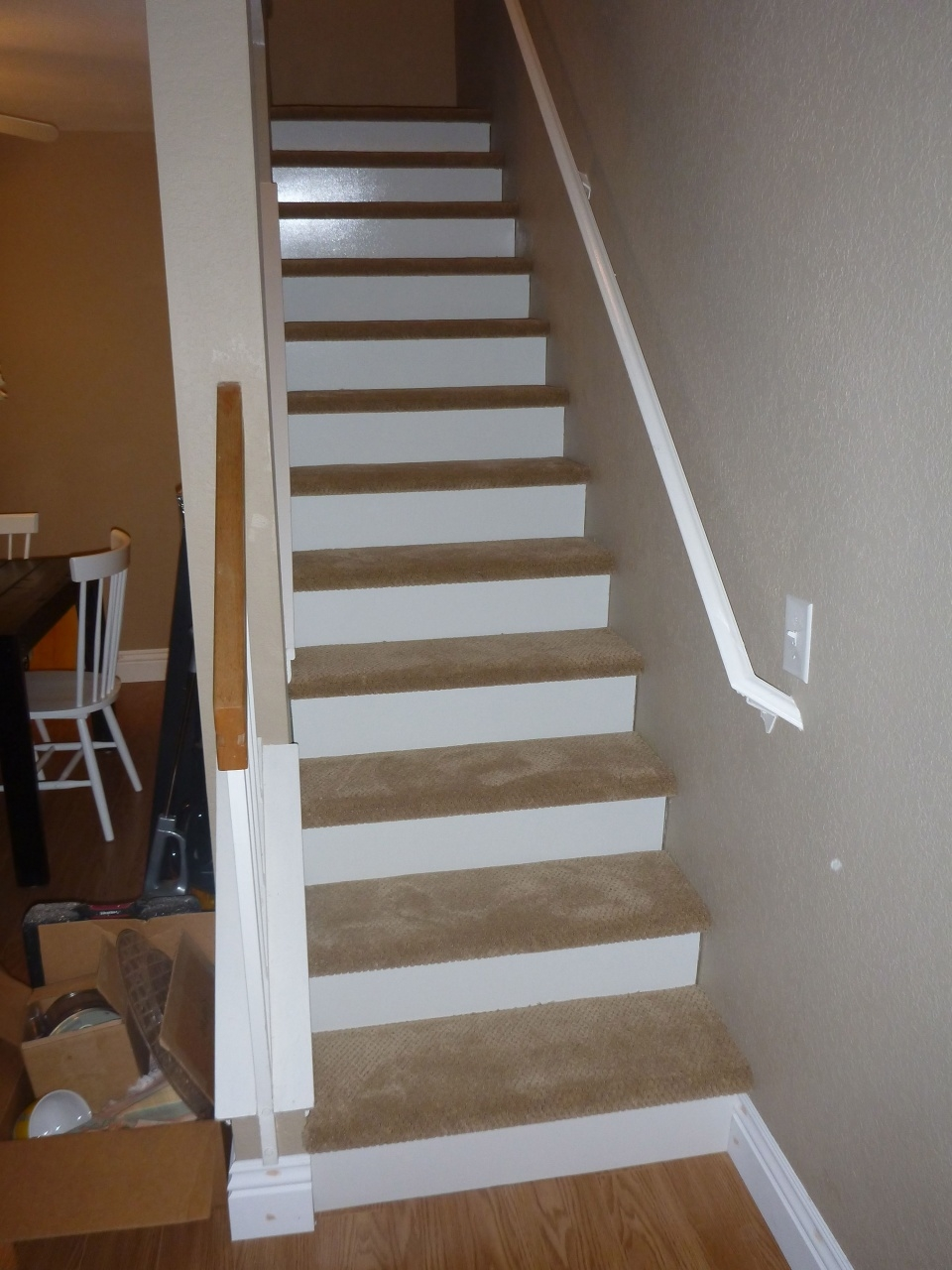 Vinyl Stairs Treads And Risers Our New Stairs 1 8 Inch Wood White | White Oak Stair Risers | Spindles | Paint | Stair Railing | Stairs Treads | Carpet