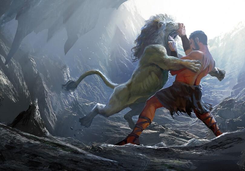hercules vs nemean lion - 1000×700