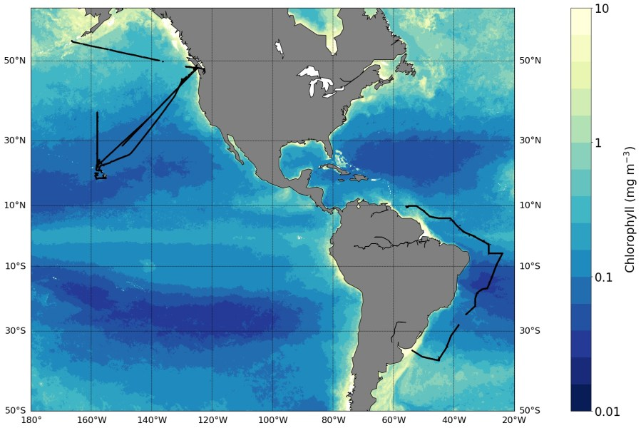 eScience Institute   Shifts in marine microbial populations detected     Coverage of the SeaFlow data used in the change point analysis  Black lines  denote