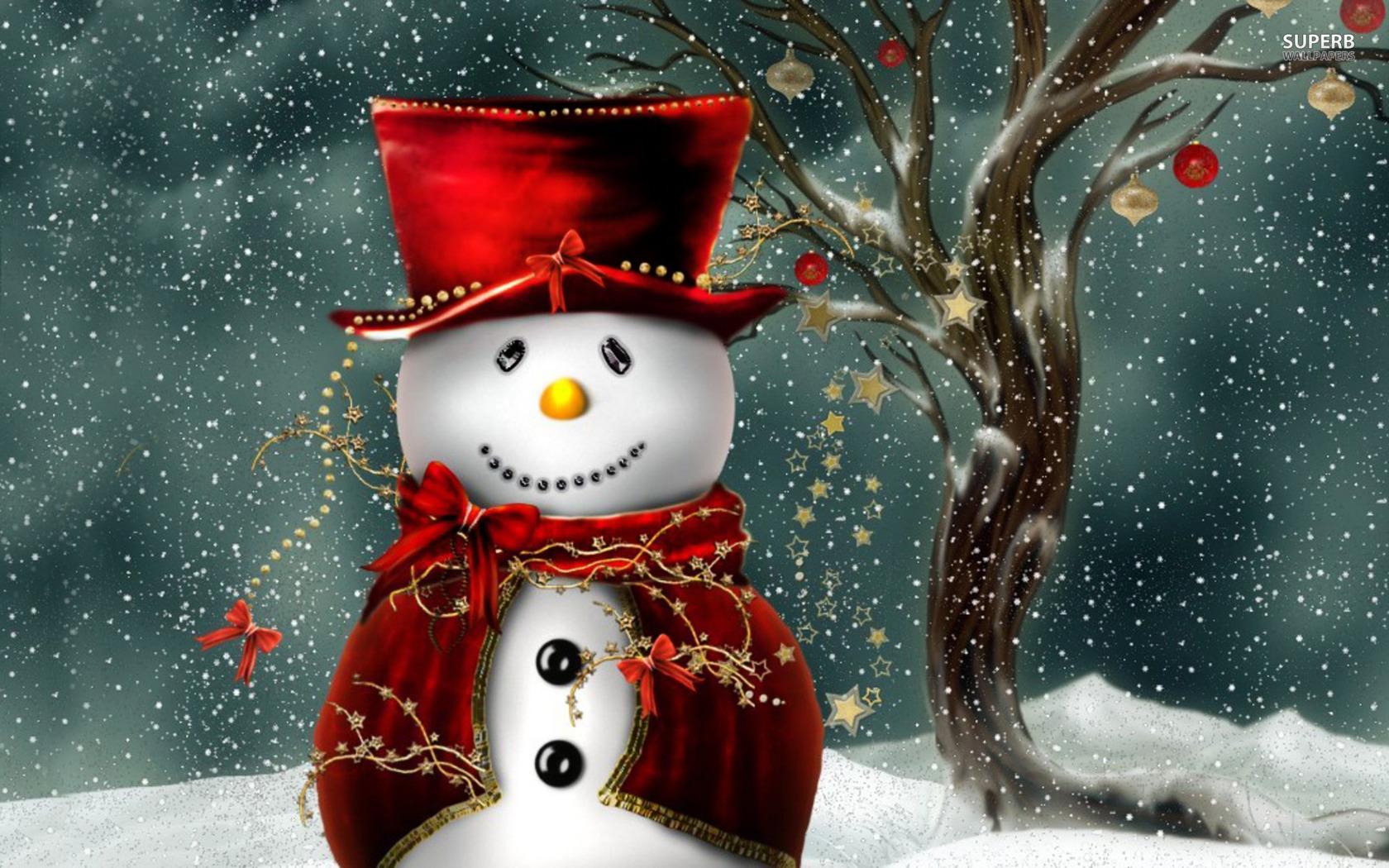 Snowman Christmas Hd Wallpaper Widescreen
