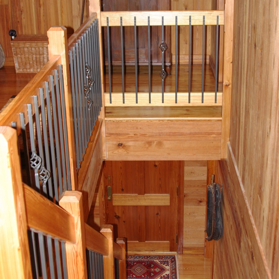 Staircase Railings Using Reclaimed Lumber E T Moore   Barn Wood Stair Railing   Industrial   Farmhouse   Wood Plank   Entryway Stair   Upstairs