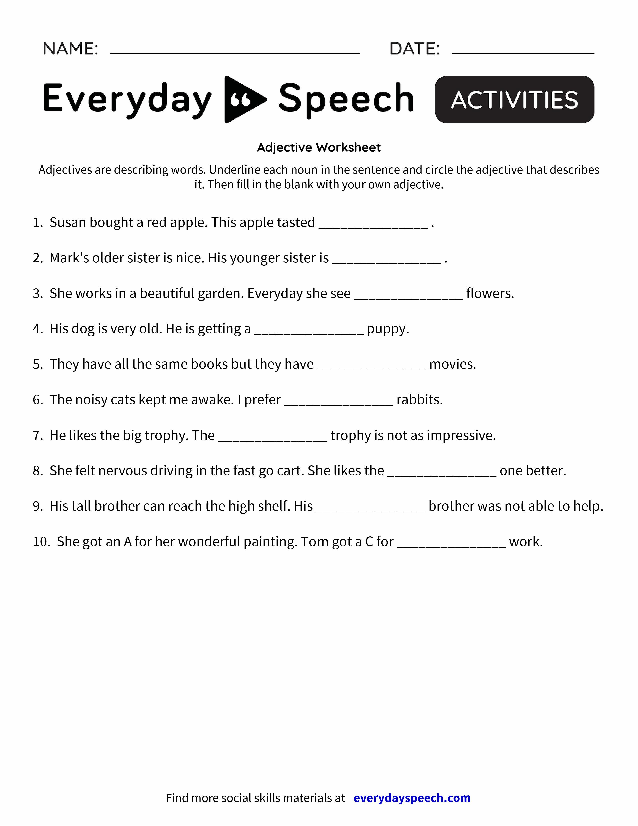 Djective W Ksheet Everyd Y Speech Everyd Y Speech