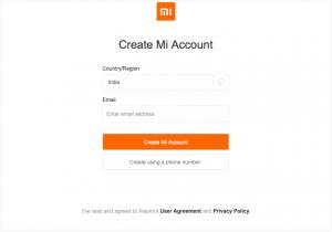 Mi Account sign up