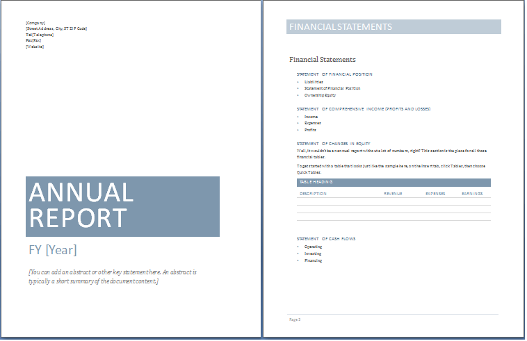 Sample Annual Report Templates | Exceltemple