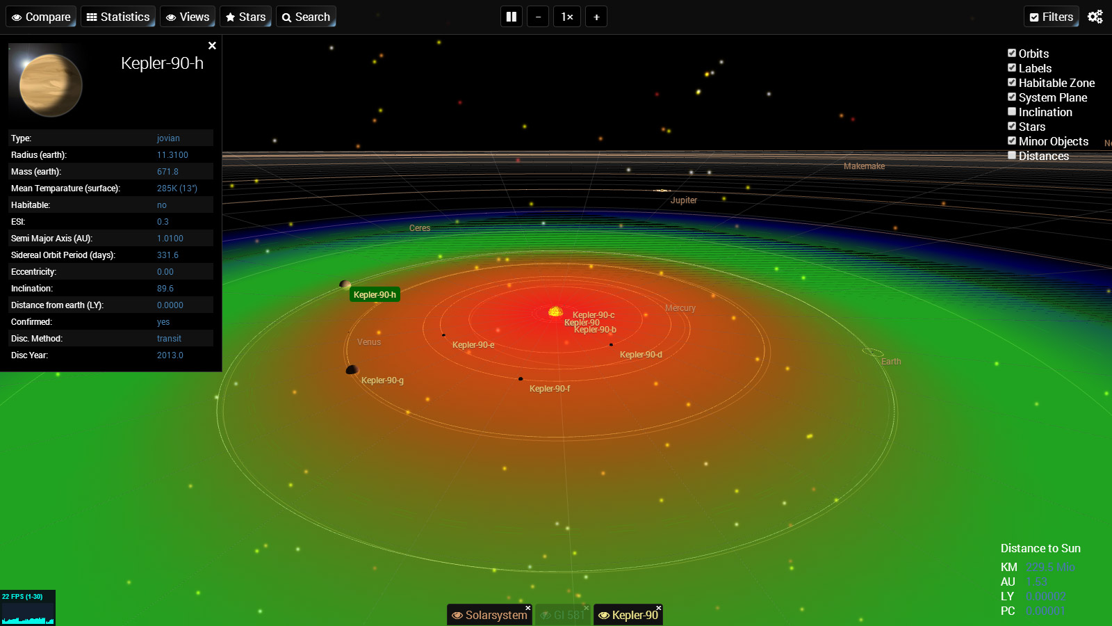 ExoPlanetSystems - A Visualization of Exoplanet Systems