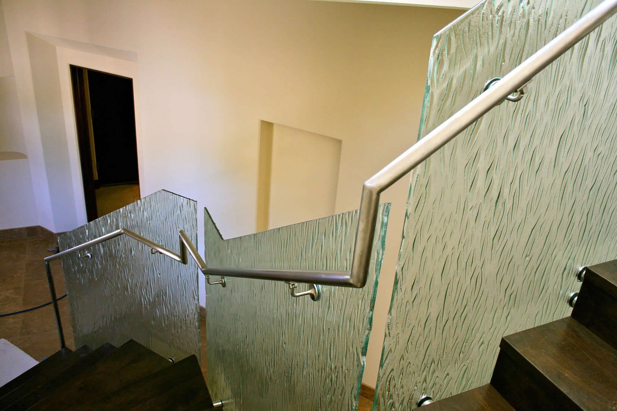 Cast Slumped And Sandblasted Architectural Art Glass San Diego | Frosted Glass Stair Panels | Smoked | Toughened | Deck | Balcony | Contemporary