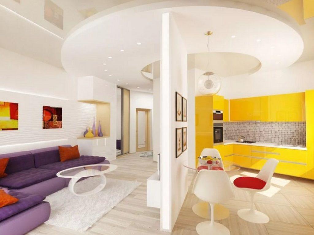 кухня-гостиная яркий дизайн